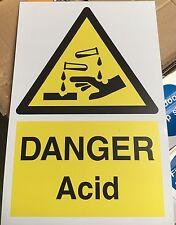 Warning Sign - DANGER Acid - 300 x 200mm Safety Signs