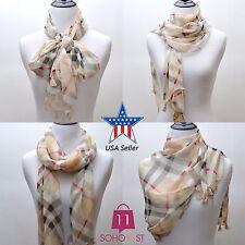 Women's Scarves Long Plaid Chiffon Scarf Check Scarf Wrap Shawl S50127