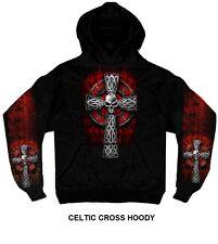 CELTIC CROSS Pullover Hoody Motorcycle Skulls Sider Web Goth Tribal Symbol Biker
