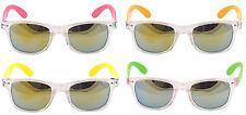 Mirror Mirrored Lens Lenses Sunglasses Shades Clear Rims Neon Arms Fancy Dress