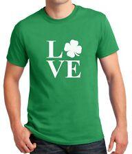 LOVE St. Patricks Day Shirt Green Clover T-Shirt Irish Shamrock Saint Patrick's