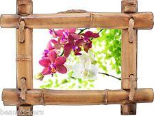 Sticker mural trompe l'oeil déco bambou Orchidée réf 7109