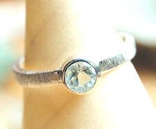 Handarbeit Ring Silber 50 52 54 58 Blautopas Silberring Gebürstet Matt Schlicht