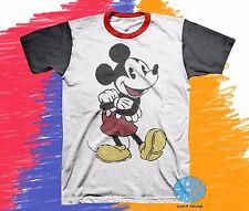 New Disney Colorblock Mickey Mouse Classic Vintage Men's T-Shirt