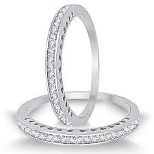 Beautiful Brilliant Simulated Diamond Sterling Silver Half Eternity Ring