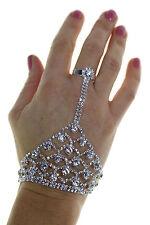 GHIACCIO (6468-1) Grande e Piccolo Diamante Anello MANO BRACCIALE ANELLO ARGENTO