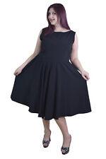 60's Vintage Black Sleeveless Flare Party Dress - Black dress plus size classy