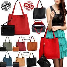 Womens Reversible Shoulder Bags Ladies Designer Faux Leather Tote Handbags Large