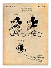Walt Disney 1930 Mickey Mouse Patent Print Art Drawing Poster 18X24