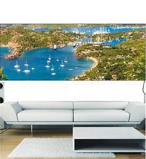 Carta dipinto scorcio panoramico Barche piacenza 3684 Art déco Adesivi