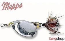 Mepps Aglia mit Fliege silber Spinner Hecht Barsch Zander Spinnfischen