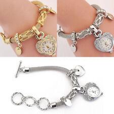 Women's Girl Heart Bracelet Watch Charm Band Analog Quartz Wrist Watch Jewelry