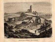 Stampa antica Castello di MONTAIGU Francia 1871 Ancienne Gravure Old Print