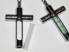 1 fillable Glass CROSS Pendant tube bottle vial locket charm