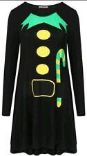 Damen Elf Candy-stick Aufdruck Weihnachten Aufgeweitet Swing Verkleidung 8-26