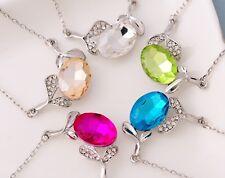 "18"" Chain Silver Plated Crystal Leaf Fruit Pendant Swarovski Elements Gift AC"