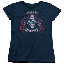 Bon Jovi Forever Skull Womens Short Sleeve Shirt Navy