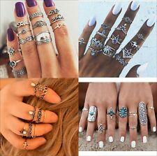 New Bohemian Vintage Women Silver Elephant Turquoise Finger Rings Punk Ring