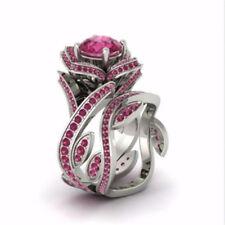 Gorgeous Lotus Ring Round Cut Pink Sapphire Women 925 Silver Ring Size 6-10