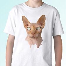 Gato Sphynx Blanco T Shirt Tee animal Kitty Top-Tallas Para Hombre Mujer Niños Bebé
