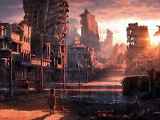 Post-Apocalyptic Dystopian City Ruins Kid Sci-Fi Art HUGE GIANT PRINT POSTER