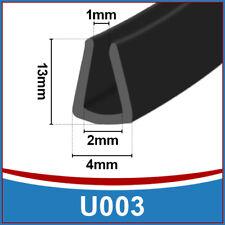 GOMMA ALTO U canale bordatura EDGE   flessibile Trim Seal   si adatta 1 mm - 2 mm   NERO