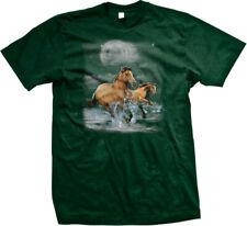 Horses Wild Ride Brown Beach Water Running Moon Clouds Free Splash Men's T-Shirt