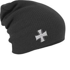 Slouch Long Beanie Wintermuetze Muetze mit Stickmotiv Eisernes Kreuz 54559 grau