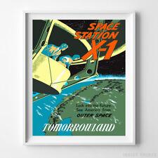 Vintage Disneyland Poster Space Station X-1 Disney Wall Art Decor UNFRAMED