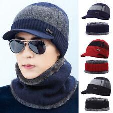 Men Warm Hat Knit Beanie Visor Beanie Cap +Scarf  Fleece Lined Winter Fashion UK