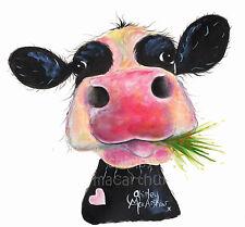 Shirley Macarthur Lona Impresión 3 Tamaños Friesian nosey Vaca Pinturas Hurley corpulento