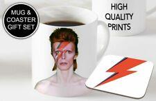 David Bowie Awesome Ceramic Coffee MUG + Wooden Coaster Gift Set