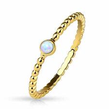 Opal Ring  geflochten  14 kt Gold plattiert  Stapelring Midi Mittelring Geschenk