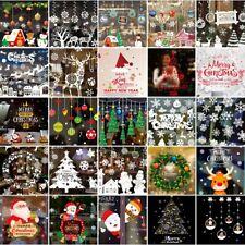 Christmas Window Sticker Xmas Tree Wall Decor Bunting Santa Claus Party Pendants