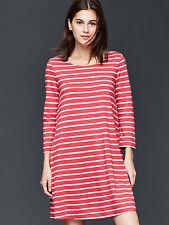 GAP Women Shift Dress S M T-shirt Orange Striped Long Sleeve Pocket Round Neck