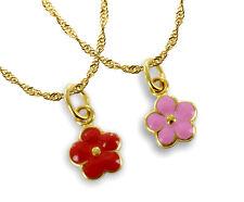 ECHT GOLD *** Blume Anhänger rosa oder rot Ø 8 mm, Kette optional