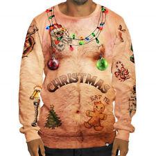 Herren Weihnachten Pullover Sweatshirt Langarm Xmas Tops Sweater Weihnachtspulli