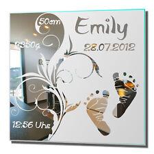 Motivspiegel Geschenk zur Geburt 8 Geburtstag Bild Spiegel Gravur Homedeko