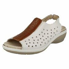 EASY B donna Bianco/pelle marrone sandali con cinturino alla caviglia STILE