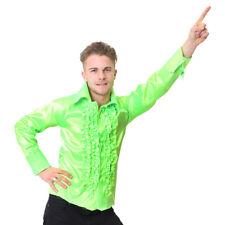 MENS GREEN DISCO RUFFLE SHIRT ADULT FANCY DRESS COSTUME 60S 1970S S M L XL XXL