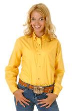 Roper Womens Yellow 100% Cotton L/S Solid Poplin Button Down Western Shirt