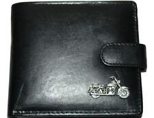Moto Souple Noir Portefeuille Cuir Antique Étain Emblème idée cadeau! Men's Gift