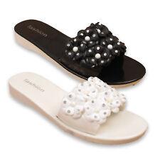 c4832420d8e85 Da Donna Slip On diapositive Donna Fiore Diamante Mule Pantofola Sandali  Scarpe Taglia