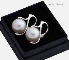 * Pendientes de Perlas * 925 hecha con cristales de Swarovski 14mm-Blanco