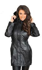 Abrigo parka para mujer ajustada de cuero suave de calidad superior con capucha y cremallera Up Mila Chaqueta Nueva