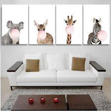1-4PCS 21-80CM Animal Giraffe Zebra Canvas Printing Art Picture Baby Kid Decor
