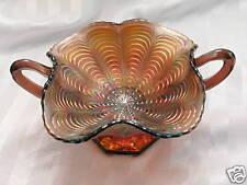 Fenton Amethyst Carnival Glass Peacock Tail Bonbon, Handled & Stemmed