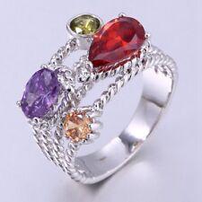UK Ladies Multi-Sapphires 18K White Gold GF Party Gift Gemstone Ring Sz 7-O, 8-Q