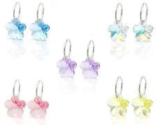 925 Sterling Silver Hoop Sleepers Earrings made with Flower Swarovski Crystals