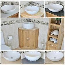 Solid Oak Bathroom Corner Vanity Unit | Sink Basin Cabinet | Stone Worktop Inc